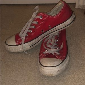 Red converse all stars low top shoe